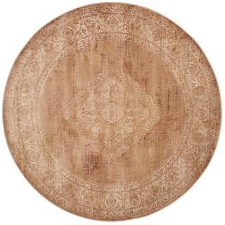 Safavieh Vintage Oriental Taupe Distressed Silky Viscose Rug (6' Round)