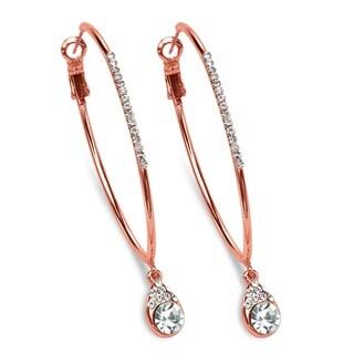 Crystal Drop Hoop Earrings in Rose Gold-Plated Color Fun