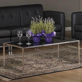 Glass/ Chrome Reinforced Metal Base Coffee Table