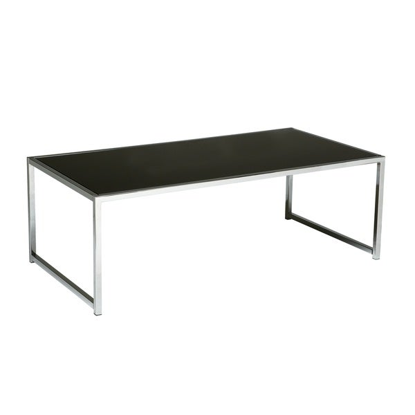 Glass/ Chrome Reinforced Metal Base Coffee Table   Free Shipping Today    Overstock.com   16194474