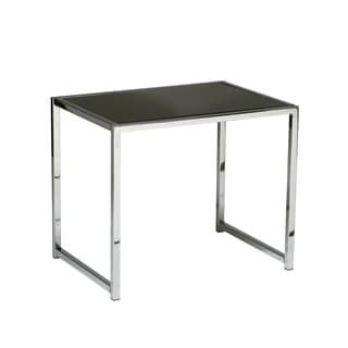 Glass/ Chrome Reinforced Metal Base End Table