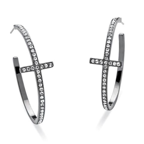 Round Crystal Cross Hoop Earrings Black Rhodium-Plated Bold Fashion