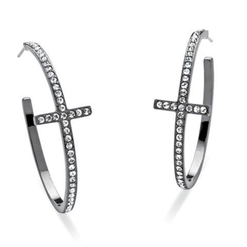 Round Crystal Cross Hoop Earrings Black Rhodium-Plated Bold Fashion