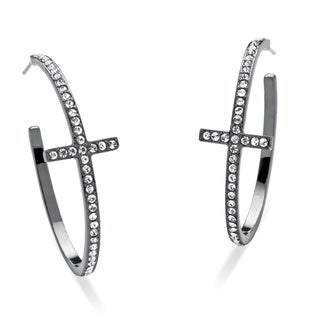PalmBeach Round Crystal Cross Hoop Earrings Black Rhodium-Plated Bold Fashion