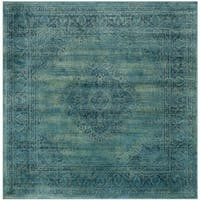 Safavieh Vintage Oriental Turquoise Distressed Silky Viscose Rug - 6' Square