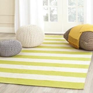 Safavieh Hand-woven Montauk Green/ White Cotton Rug (6' Square)
