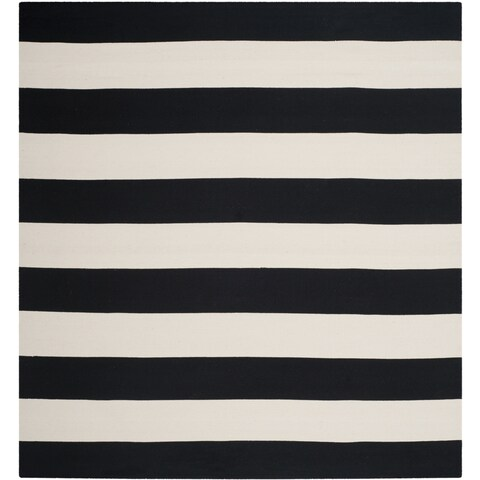 Safavieh Montauk Handmade Caspian Flatweave Black/ Ivory Stripe Cotton Rug - 6' x 6' Square