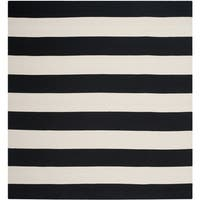 Safavieh Hand-woven Montauk Black/ White Cotton Rug - 6' Square