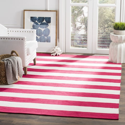 Safavieh Montauk Handmade Caspian Flatweave Red/ Ivory Stripe Cotton Rug - 6' x 6' Square