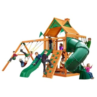Gorilla Playsets Mountaineer Cedar Swing Set with Natural Cedar Posts