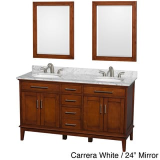 Wyndham Collection Hatton Light Chestnut 60-inch 3-hole Faucet Double Vanity