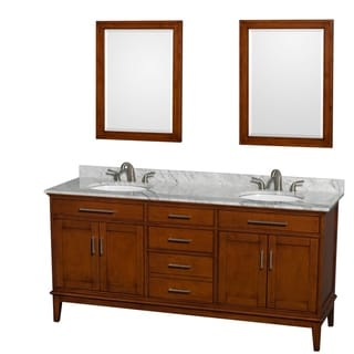 Link to Wyndham Collection Hatton Light Chestnut Wood 72-inch Double Vanity Similar Items in Bathroom Furniture