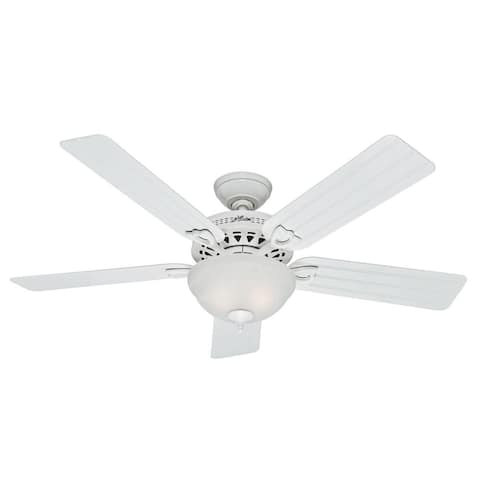 "Hunter 52"" Beachcomber Outdoor Ceiling Fan with LED Light Kit and Pull Chain, Damp Rated - White"