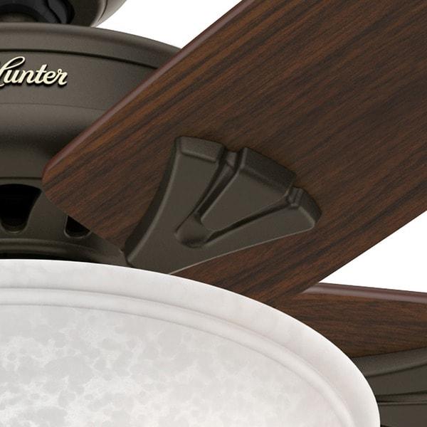 Hunter 70-inch Stockbridge New Bronze Fan with Five Walnut// Medium Oak Blades
