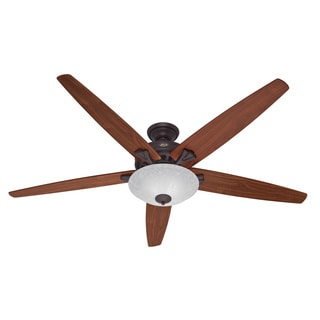 Hunter 70-inch Stockbridge New Bronze Fan with Five Walnut/ Medium Oak Blades