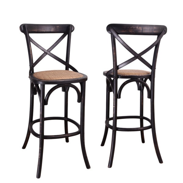 Black Elm Wood Rattan Antique Bistro Bar Stool Free