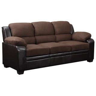 Two Tone Brown Microfiber/ Faux Leather Sofa