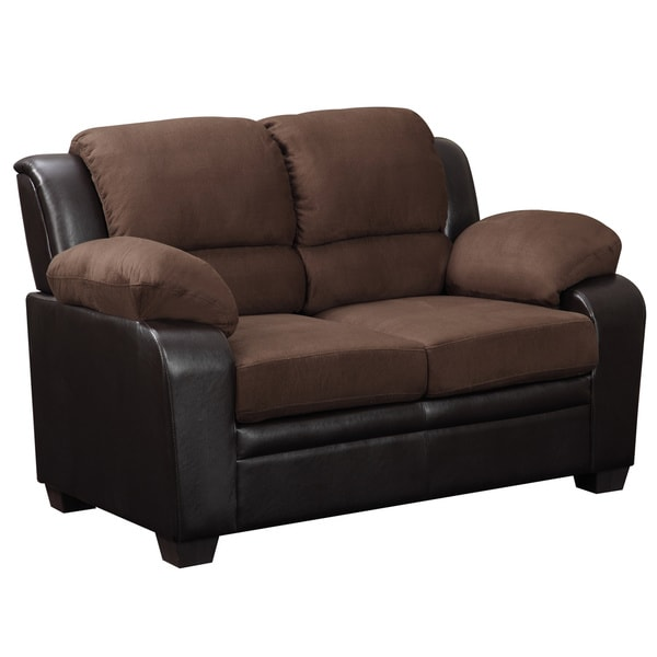 Shop Two-tone Brown Microfiber/ Faux Leather Loveseat