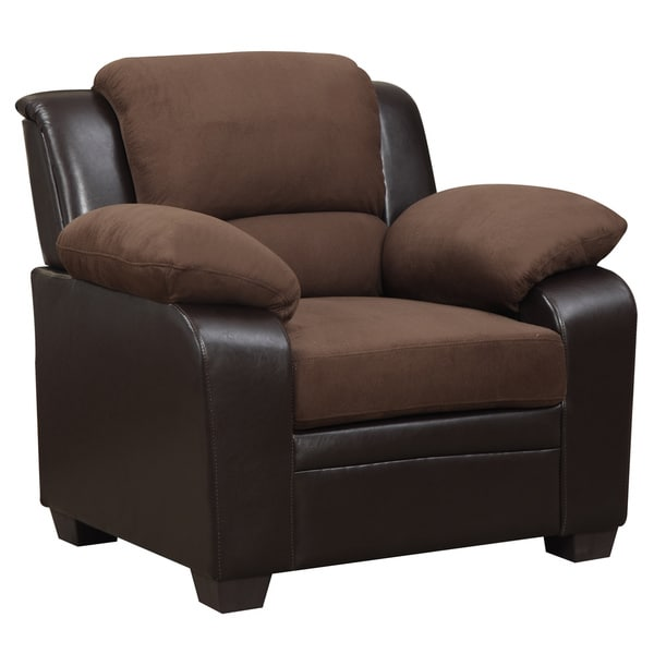 Belle Meade Furniture Two-tone Brown Microfiber/ Faux Leather Chair - Free Shipping Today ...