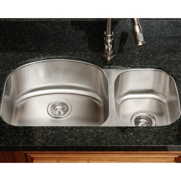 Polaris Sinks PL105-18 Offset Double Bowl Stainless Steel Kitchen Sink