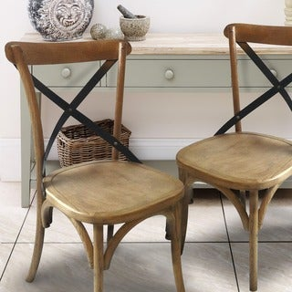 Adeco Elio Chair Rusty+Elm Wood Top (Set of 2)