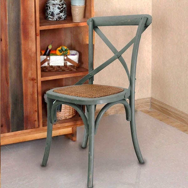 Adeco Elm Wood And Rattan Antique Bistro Dining Chairs (Set Of 2)