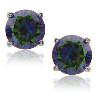 Journee Collection Sterling Silver Multicolor Cubic Zirconia Earrings