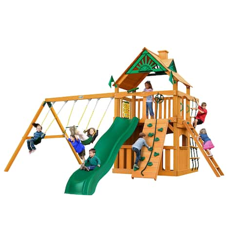 Gorilla Playsets Chateau Clubhouse Wooden Swing Set with Slide, Rock Climbing Wall, and Picnic Table
