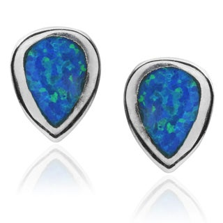 Journee Collection  Sterling Silver Opal Tear-drop Stud Earrings