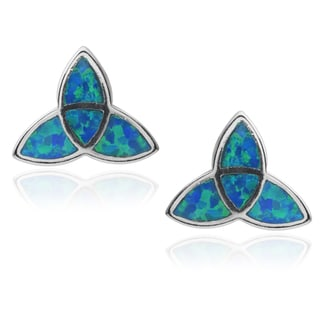 Journee Collection Sterling Silver Opal Celtic Triangle Stud Earrings