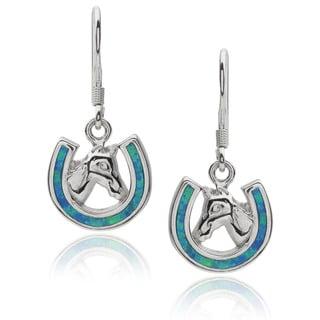 Journee Collection Sterling Silver Opal Horseshoe Dangle Earrings