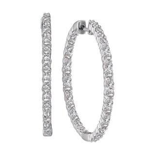 Eloquence 14k White Gold 1/2ct TDW Diamond Hoop Earrings