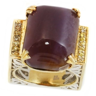 Michael Valitutti Two-tone Purple Chalcedony and Yellow Sapphire Ring