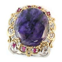 Michael Valitutti Two-tone Charoite and Pink Sapphire Ring