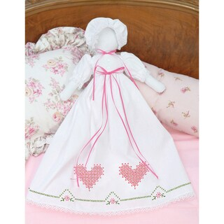 Stamped White Pillowcase Doll Kit-Chicken Scratch Hearts