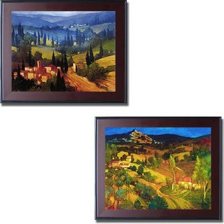 Philip Craig 'Tuscan Valley View and Provencal Landscape' Framed 2-piece Canvas Art Set - Multi