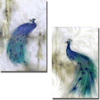 J P Prior Jewel Plumes I And II 2 Piece Canvas Art Set