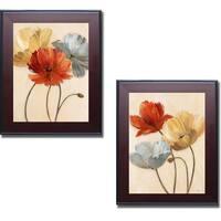 Nan 'Poppy Palette I and II' Framed 2-piece Canvas Set