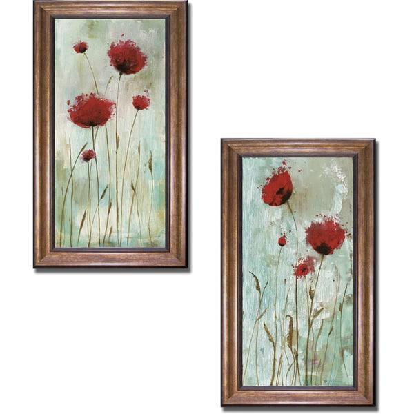 Catherine Brink 'Splash Poppies I and II' Framed 2-piece Canvas Art Set - Multi