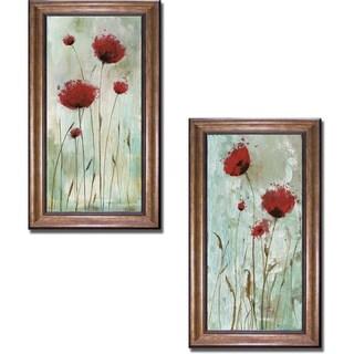 Catherine Brink 'Splash Poppies I and II' Framed 2-piece Canvas Art Set