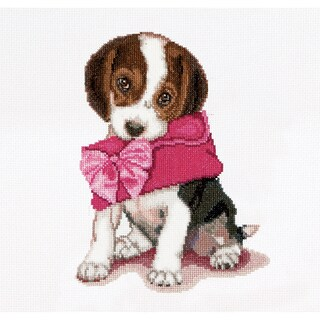 "Puppy Love On Aida Counted Cross Stitch Kit-12-1/4""X11-3/4"" 16 Count"