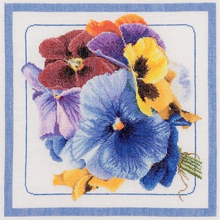 "Pansies On Linen Counted Cross Stitch Kit-13-1/2""X13-1/2"" 36 Count"