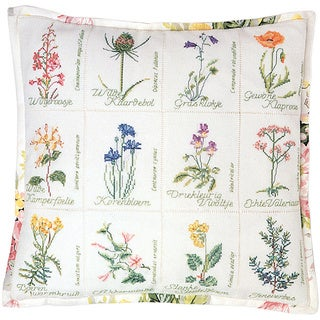 "Wild Flower Cushion On Jobelan Counted Cross Stitch Kit-16-1/8""X16-1/8"" 27 Count"