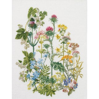 """Herb Panel On Aida Counted Cross Stitch Kit-13-3/4""""X18-1/8"""" 18 Count"""
