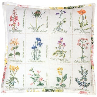 """Wild Flower Cushion On Aida Counted Cross Stitch Kit-16-1/8""""X16-1/8"""" 16 Count"""
