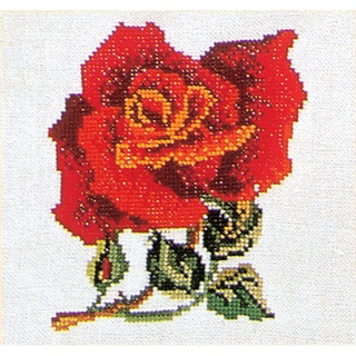 "Red Rose On Linen Counted Cross Stitch Kit-5-1/8""X5-1/8IN"
