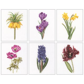 """Floral Studies 3 On Aida Counted Cross Stitch Kit-6-3/4""""X8"""" 18 Count Set Of 6"""