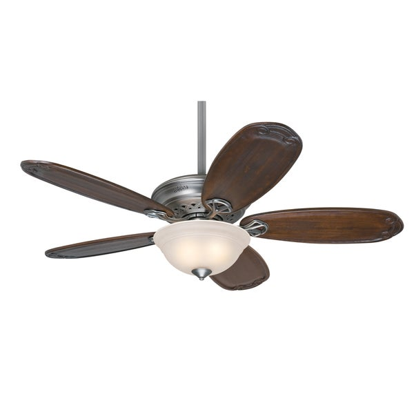 Hunter Teague 54-inch Ceiling Fan with Five Blackened Pecan Carved ...