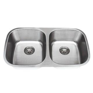 Wells Sinkware Craftsmen Series 33-inch 18-gauge Undermount 50-50 Double Bowl Stainless Steel Kitchen Sink
