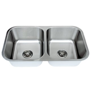 Wells Sinkware 18 Gauge 50/50 Equal Double Bowl Undermount Stainless Steel Kitchen Sink